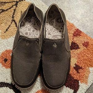 Olukai brown slip on shoes